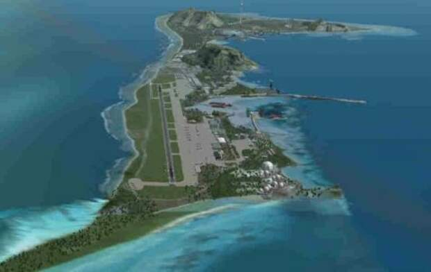 взлетно-посадочная полоса для всех типов самолетов на острове Диего-Гарсия