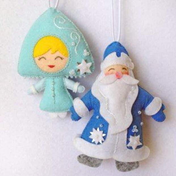 Новогоднии идеи - подборка фетровых елочных игрушек.