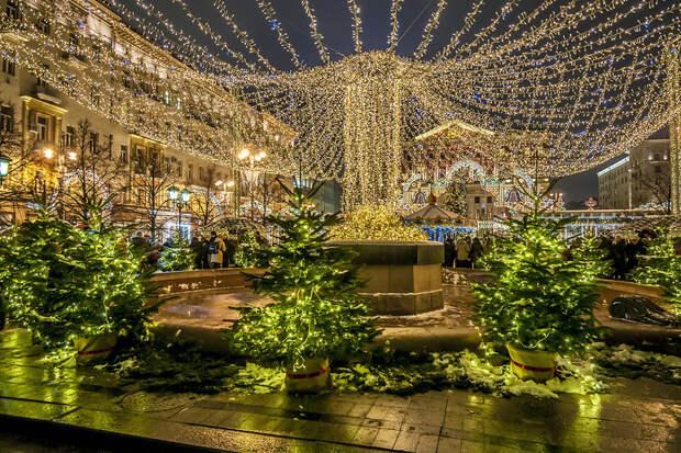 Огни ночной Москвы перед Новым годом!