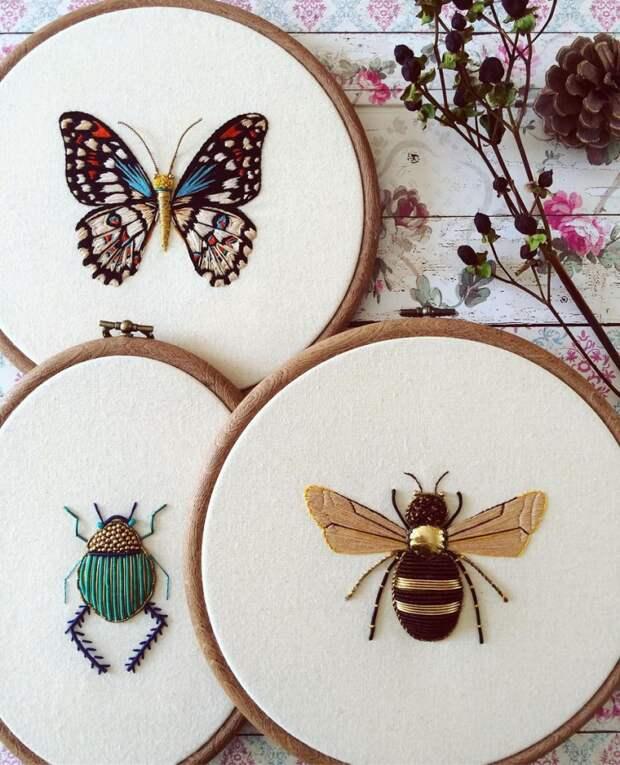 Современные насекомые. Старинное шитьё.