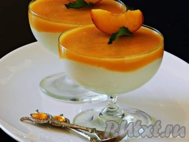 Десерт из творога с желатином и фруктами