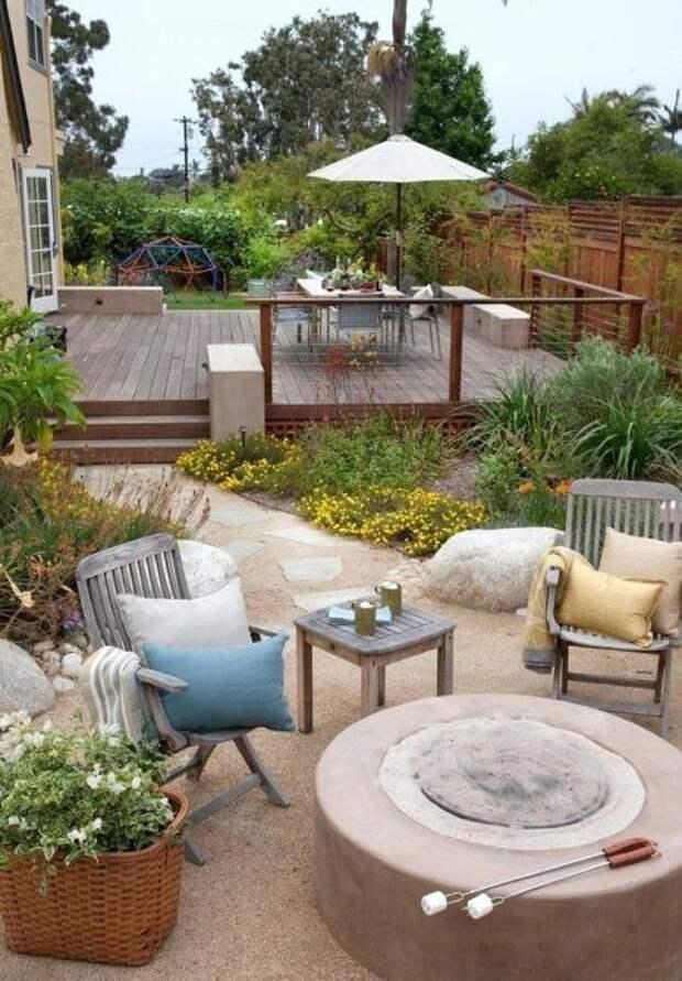 Летнее патио на заднем дворе с небольшим кофейным столом и удобными деревянными креслами.