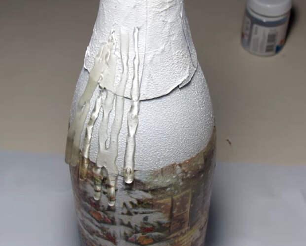 Самый простой способ оформления бутылки шампанского для нового года
