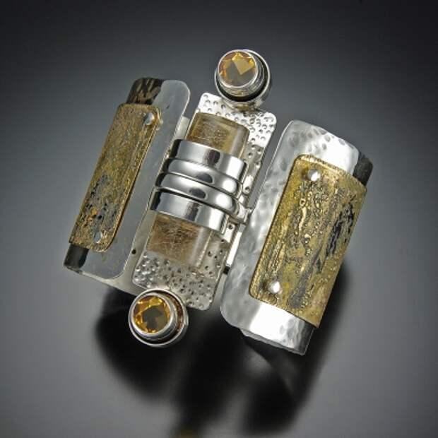 ювелирные образ Кованые Серебро, гравированный Латунь, цитрин, Rutilated Quartz