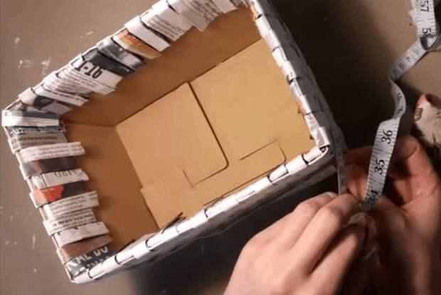 Оригинально и совсем просто -  плетение корзинки из газетной бумаги