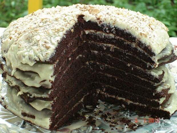 Шоколадный торт на кефире ″Ноченька″