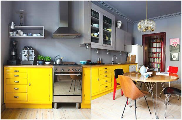 Серые стены служат отличным фоном для яркой жёлтой мебели