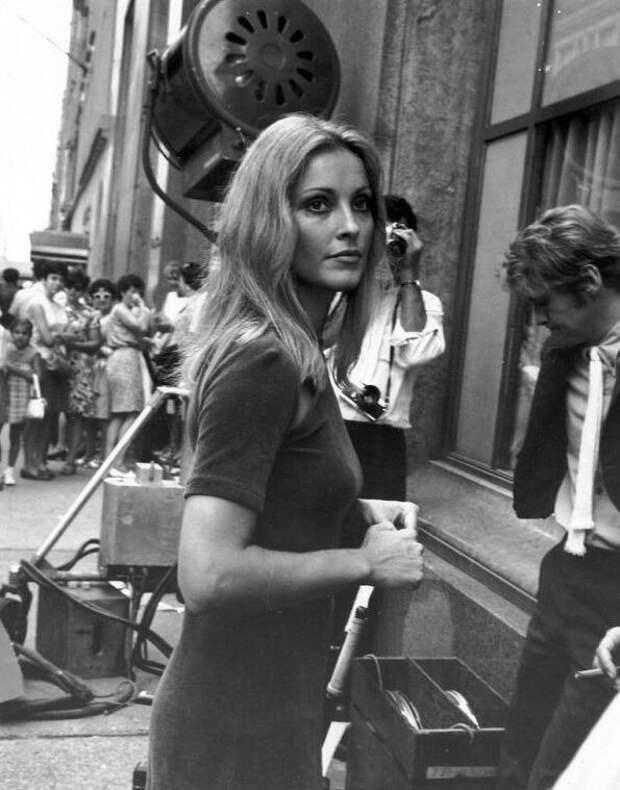 Шарон Тейт на съемках фильма «Ребенок Розмари», 28 августа 1967 года , на Пятой авеню и 57-й улице в Нью-Йорке.  история, люди, фото