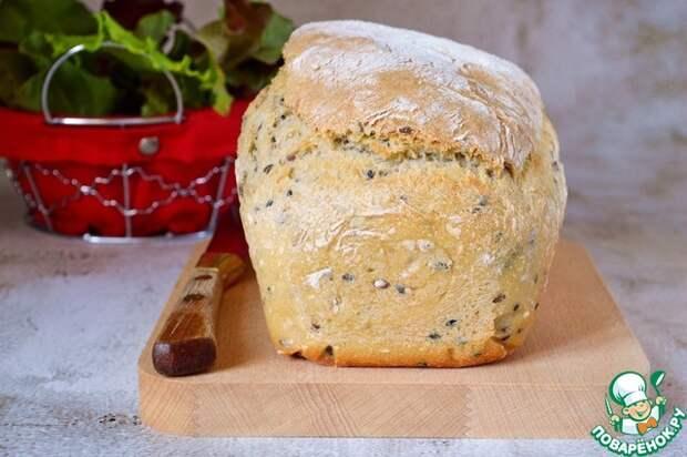 Пышный хлеб на кефире с семенами