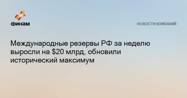 Международные резервы РФ за неделю выросли на $20 млрд, обновили исторический максимум