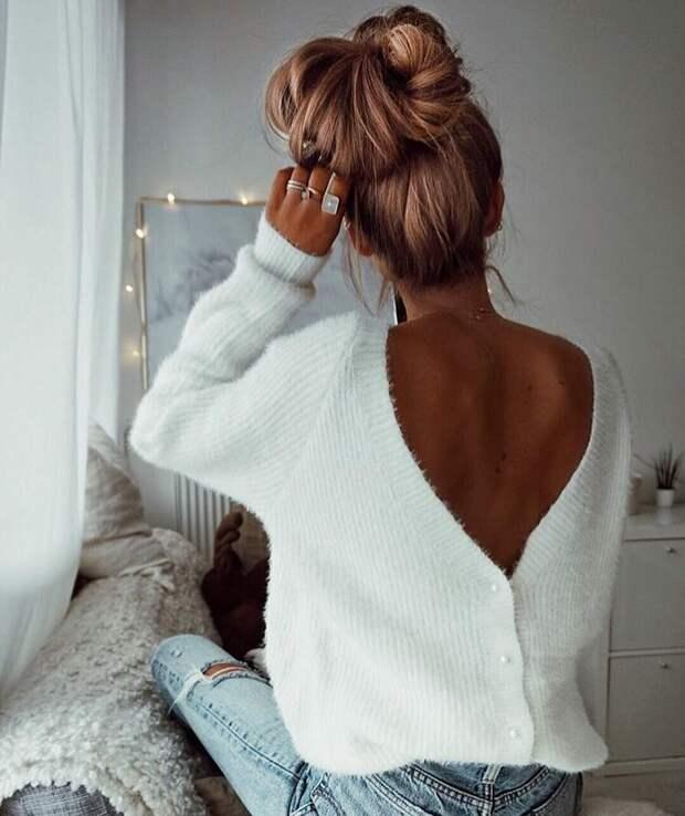 16 вариантов как носить свитер с открытой спиной, получив соблазнительный образ