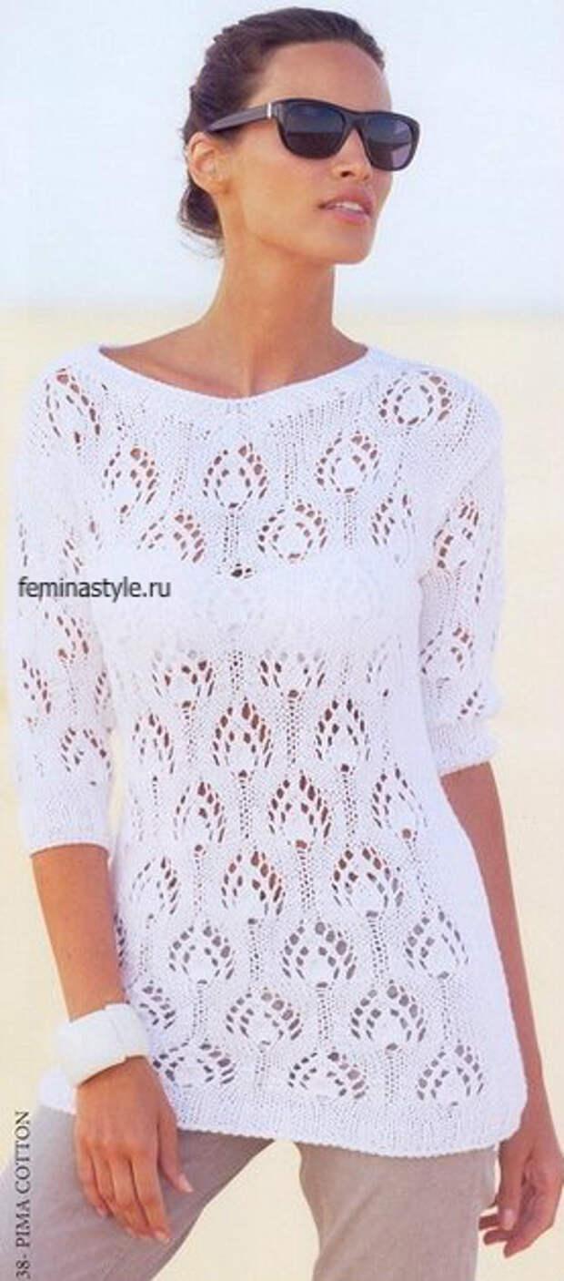 Летний пуловер с миксом узоров спицами