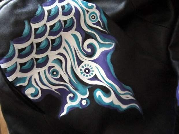 Роспись куртки акрилом - автор Shraddha (9)