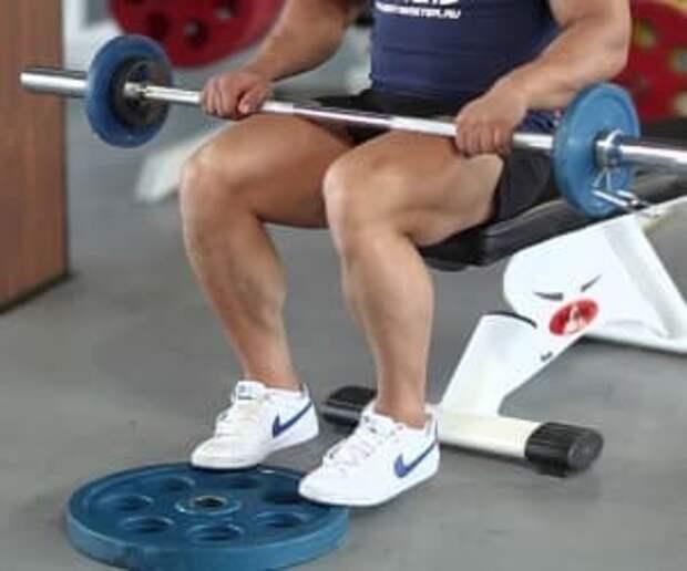 Варианты выполнения подъемов на носки сидя