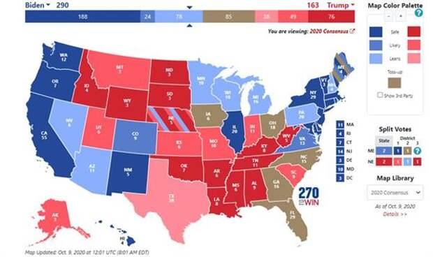 Распределение голосов штатов в пользу кандидатов