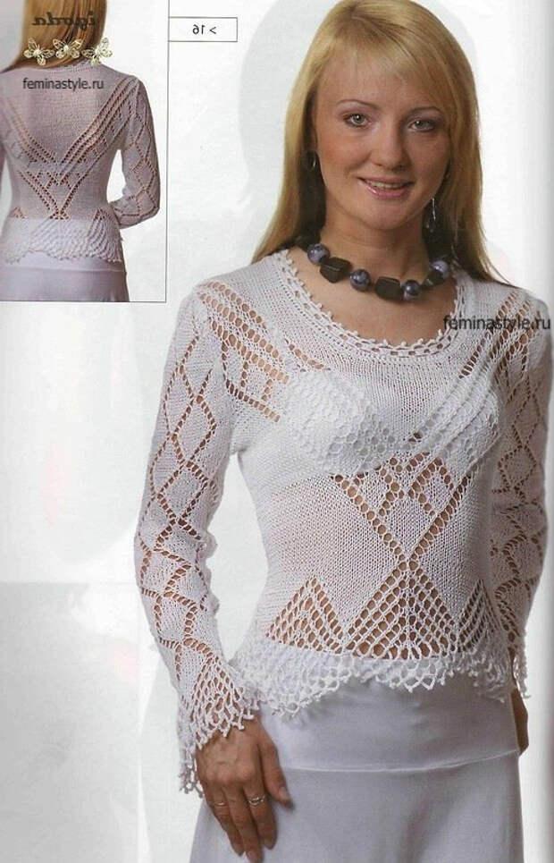 Белая блузка спицами и крючком