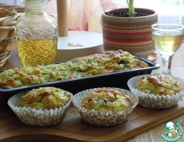 Рецепт: Кабачковые кексы с беконом и луком