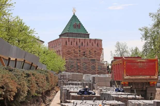 Ремонт Ивановского съезда на территории Нижегородского кремля завершат к концу июня