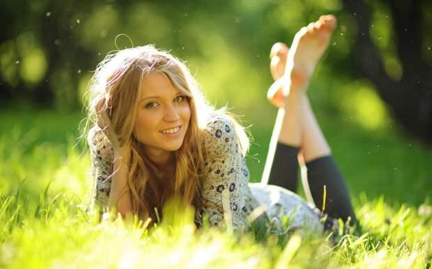 Blonde, Smiling, Grass, Lying, Depth of Field, Women wallpaper ...