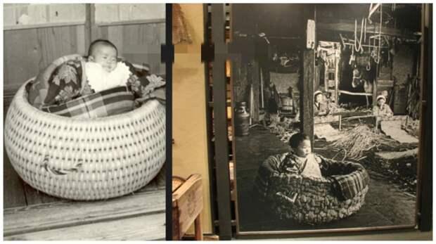 """В древней Японии в эпоху Эдо (1600- 1850) широко применялась люлька-переноска ejiko со """"встроенным"""" в нее впитывающим слоем интересное, младенцы, ношение, обычаи, пеленание, факты"""