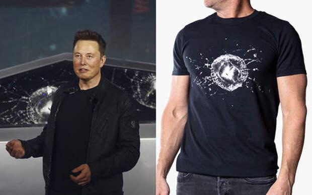 Маск снова молодец: сделал футболки с разбитым стеклом Кибертрака