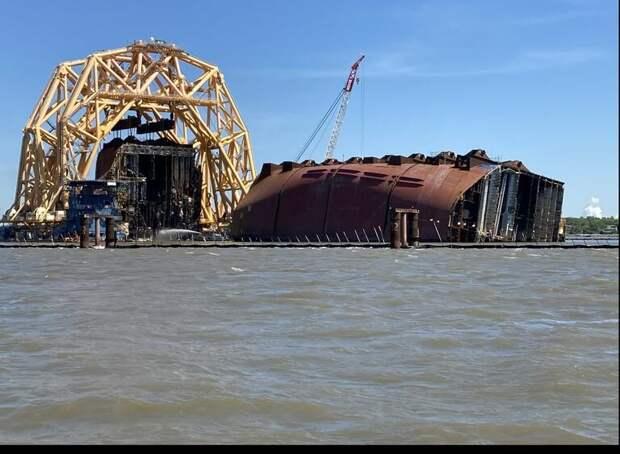 """Грузовой Корабль """"Golden Ray"""" спустя полтора года."""