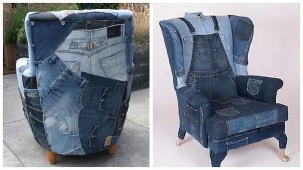 Кресла и диваны из джинсовых вещей