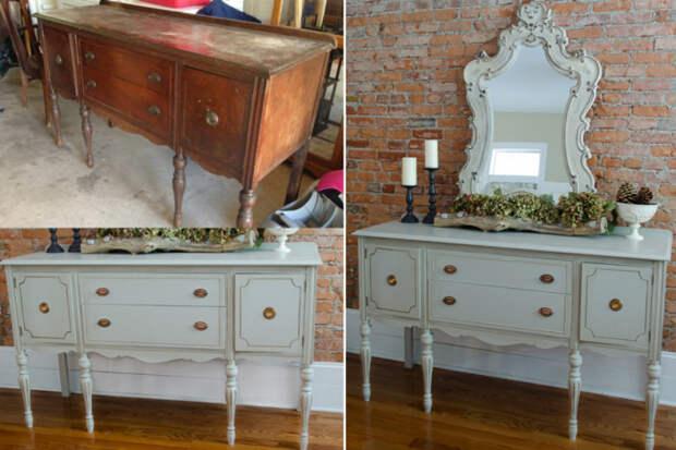 Старая мебель в новом интерьере будет выглядеть эффектно, если умело провести реставрацию.   Фото: pinterest.co.kr.