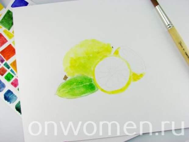 Лимон акварелью