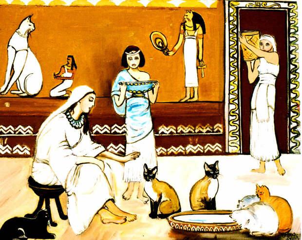 В те бородатые времена люди уже служили и подчинялись котам