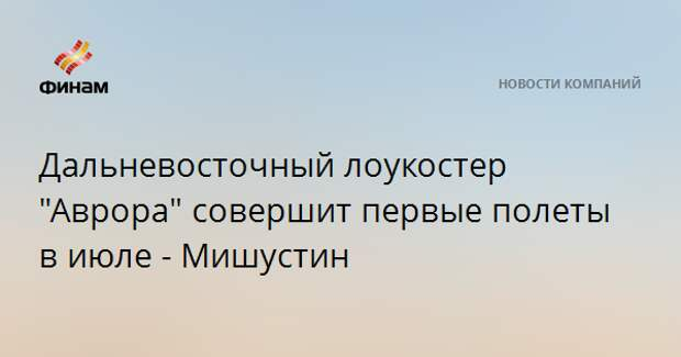 """Дальневосточный лоукостер """"Аврора"""" совершит первые полеты в июле - Мишустин"""