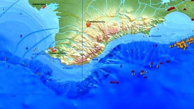 """Подводные каньоны крымских рек на дне Чёрного моря. Изображение из статьи """"Устойчивость морских геосистем глубоководных зон Чёрного моря"""""""