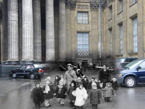 Ленинград 1941-2009 Казанский собор. Ясли на прогулке блокада, ленинград, победа