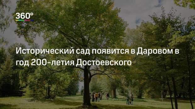 Исторический сад появится в Даровом в год 200-летия Достоевского