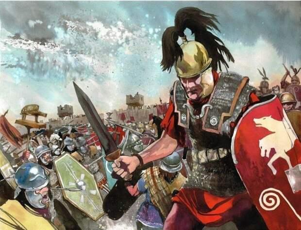 Легионеры в бою. Картина современного художника