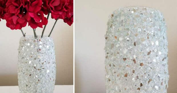 Превращение простой стеклянной вазы в дизайнерскую