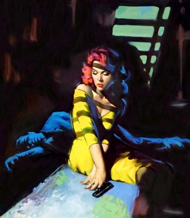 Рисунки для обложек бульварных романов работы художника Роберта Магуайра, 1950-1960-е годы.