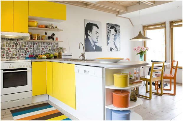 Привлекательный дизайн кухни с использованием жёлтого цвета